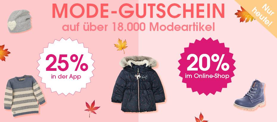 20% Rabatt auf Mode bei Babymarkt   25% per App   zB Steiff Schneeoverall für 51,99€, Stepp-Tragejacke für 127,99€ uvm.