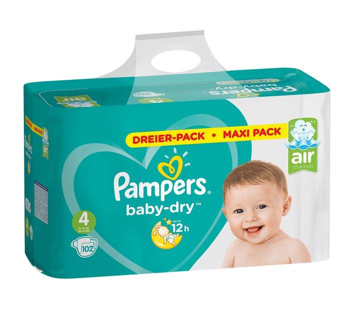 Pampers baby dry Windeln/Pants Maxi Pack versch. Größen, 10€ Sofort-Rabatt beim Kauf von 2 Stück / 14,61€ pro Packung [real]