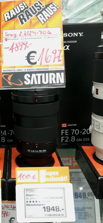 Objektiv Sony GMaster FE 24-70mm/f2,8 - Vitrinenstück im Saturn Essen Limbecker Platz - 1697€ + 100€ Saturn Geschenkcoupon