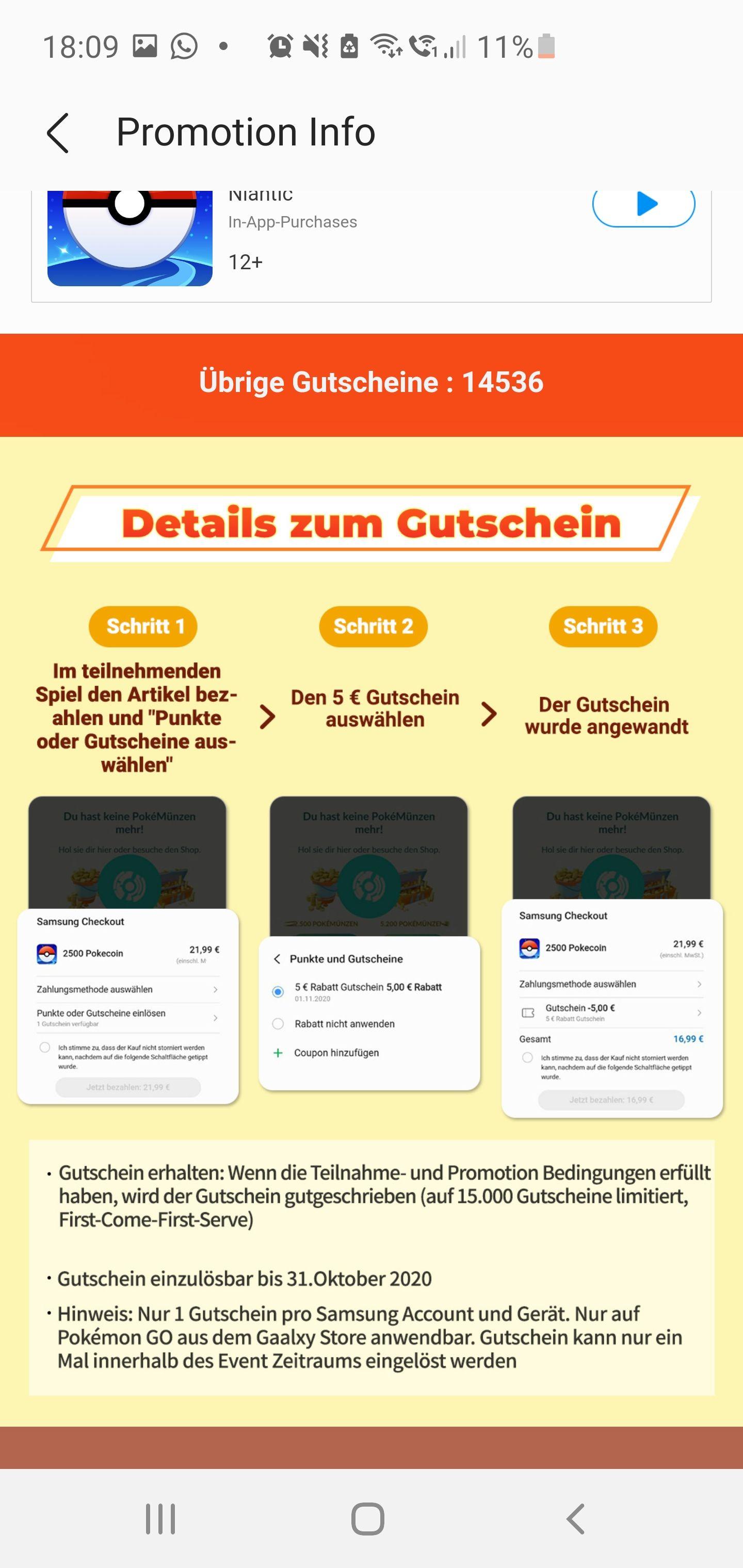 Pokémon Go 5€ Ingame Gutschein, für Samsung Galaxy Nutzer