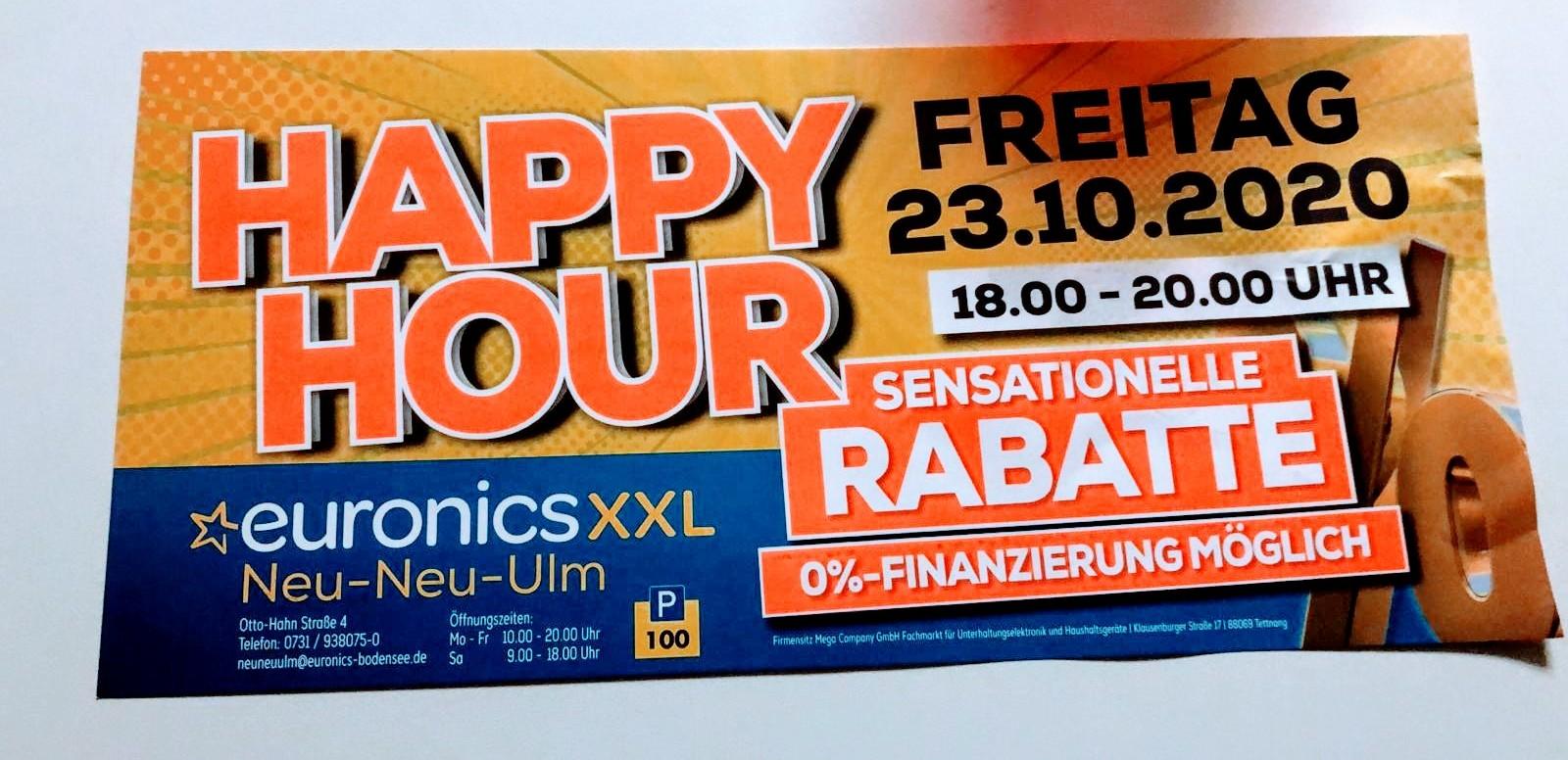 Lokal? | Euronics Neu-Ulm | Happy Hour 23.10.2020 | 18:00 - 20:00 Uhr | bis zu -20%