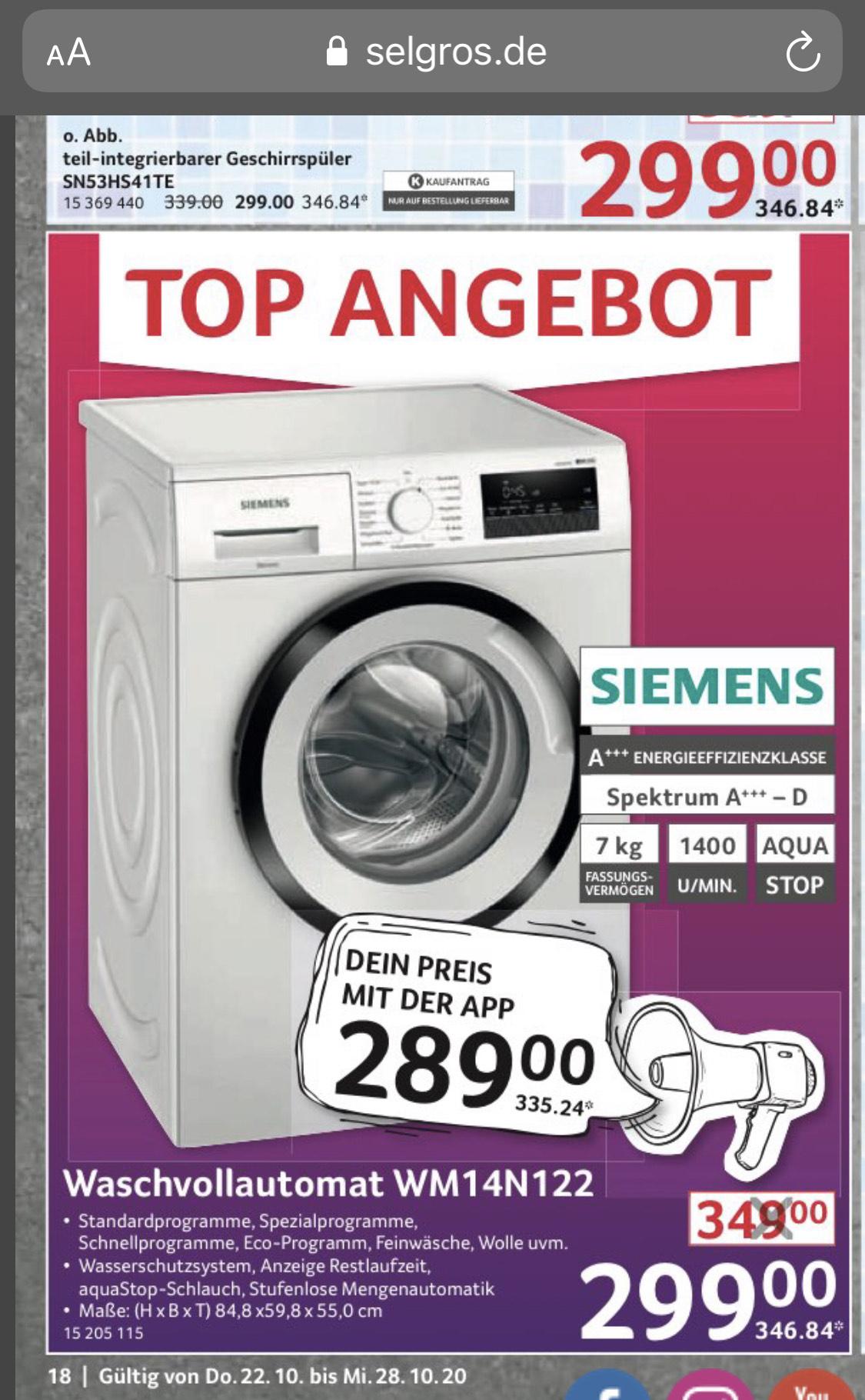 [Lokal bundesweit, Bestpreis] SIEMENS WM14N122 iQ300 Waschmaschine (7 kg, 1388 U/Min., A+++) - Selbstabholer