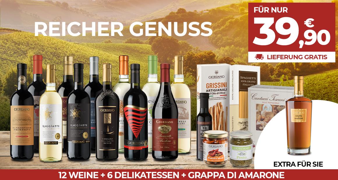 12 gute Weine + 6 Delikatessen + Grappa Amarone