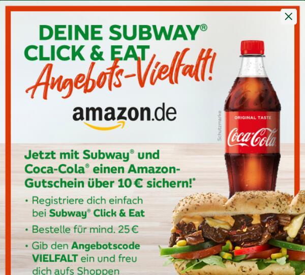 Subway Click & Eat 10€ Amazon Gutschein bei Bestellung über 25€