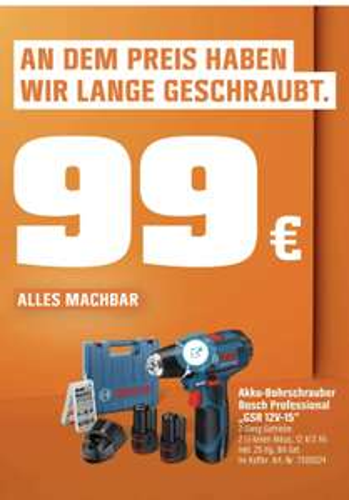Bosch Professional Akku-Bohrschrauber GSR 12V-15 inkl. 25-tlg. Bit-Set, 2 Akkus und Koffer