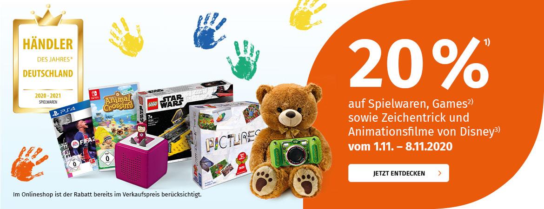Müller 20% auf Spielwaren (auch Tonies), Games und Disney Filme