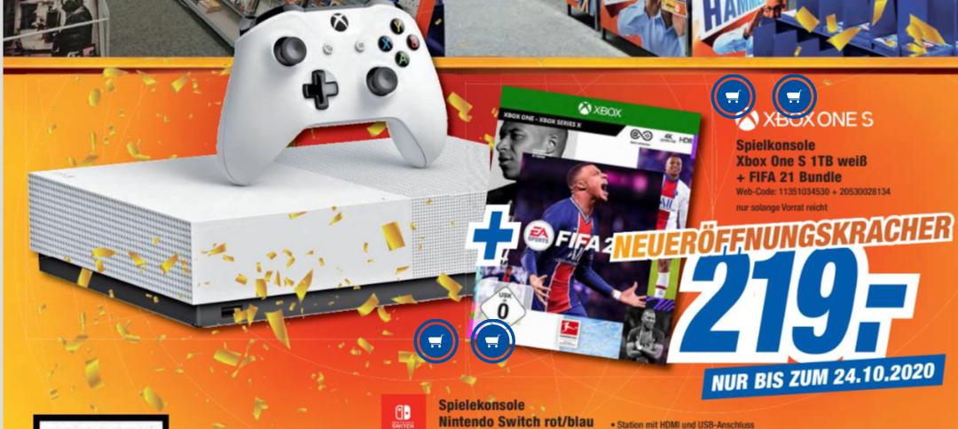 [lokal Kleinheubach] Xbox One S 1TB weiß + FIFA 21 (Xbox One)