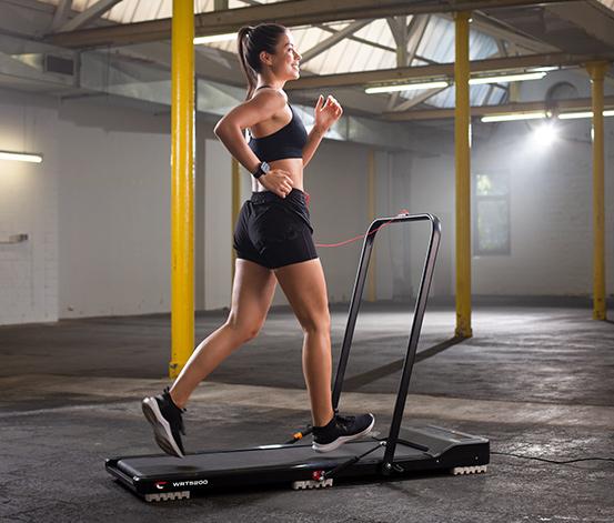 Christopeit Walking Pad WRT 5200 / CS 1000 (1-8km/h in 0.1-Schritten, 6 Programme, Dämpfer, Sicherheitsbügel klappbar, 120x40cm Lauffläche)