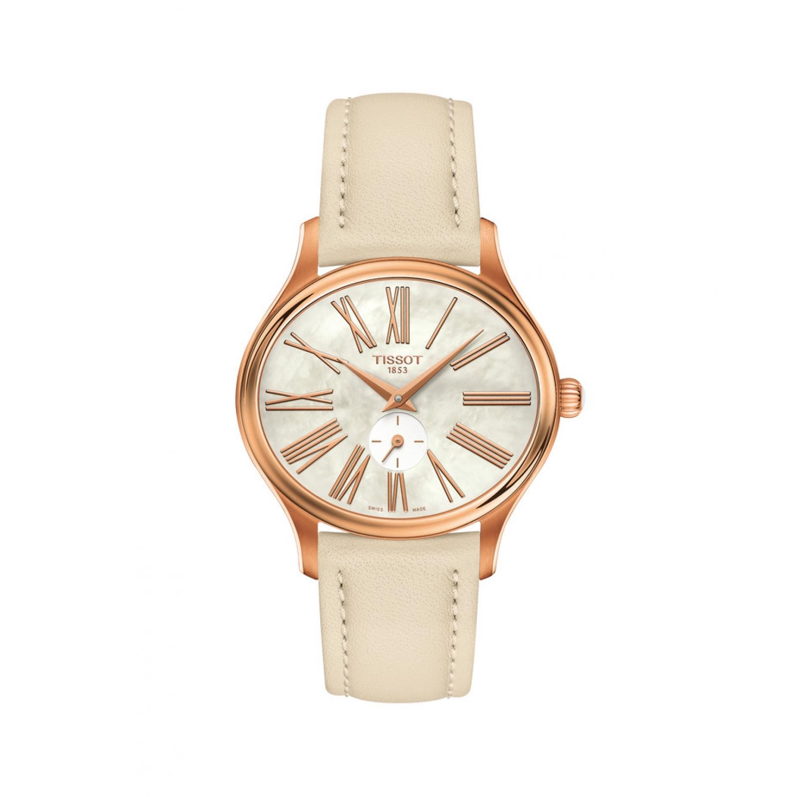 TISSOT Bella Ora Mother of Pearl Dial Damenuhr (Quartz-Uhrwerk, Saphirglas, Armband aus Leder) für 126,21€