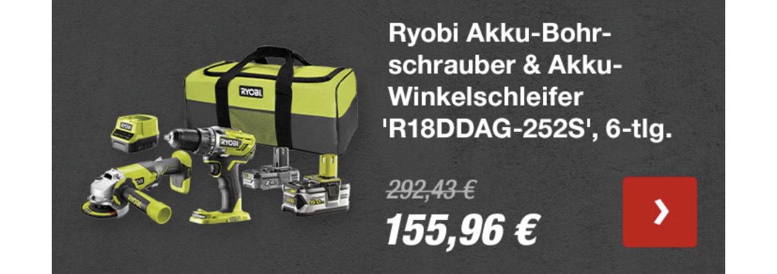 Online-Hammer am Sonntag bei Toom, Ryobi Set für sehr gute 155,96€