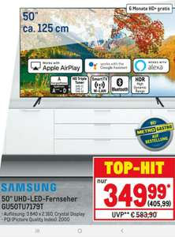 Samsung GU50TU7179 Crystal UHD TV + 6 Monate HD+ TV (Metro Deal) Lokal St. Augustin?