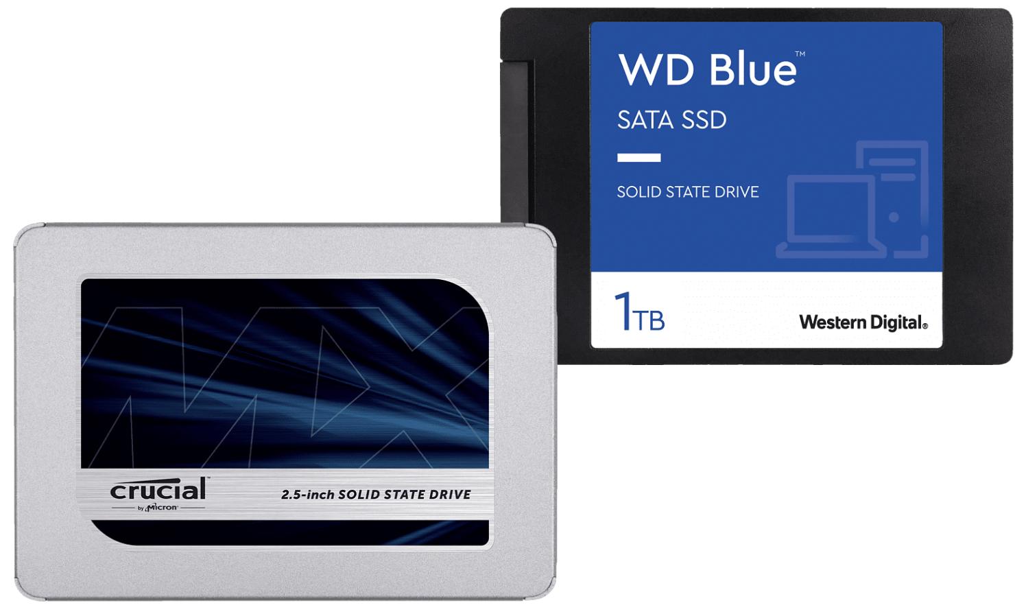 Crucial MX500 1TB für 77,58€ oder WD Blue 3D 1TB für 76,72€ inkl. Versand