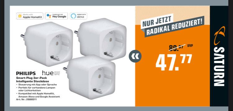 Philips Hue Smart Plug 3er-Pack Intelligente Steckdose mit Bauhaus Tiefpreisgarantie (12%) für 42,03€