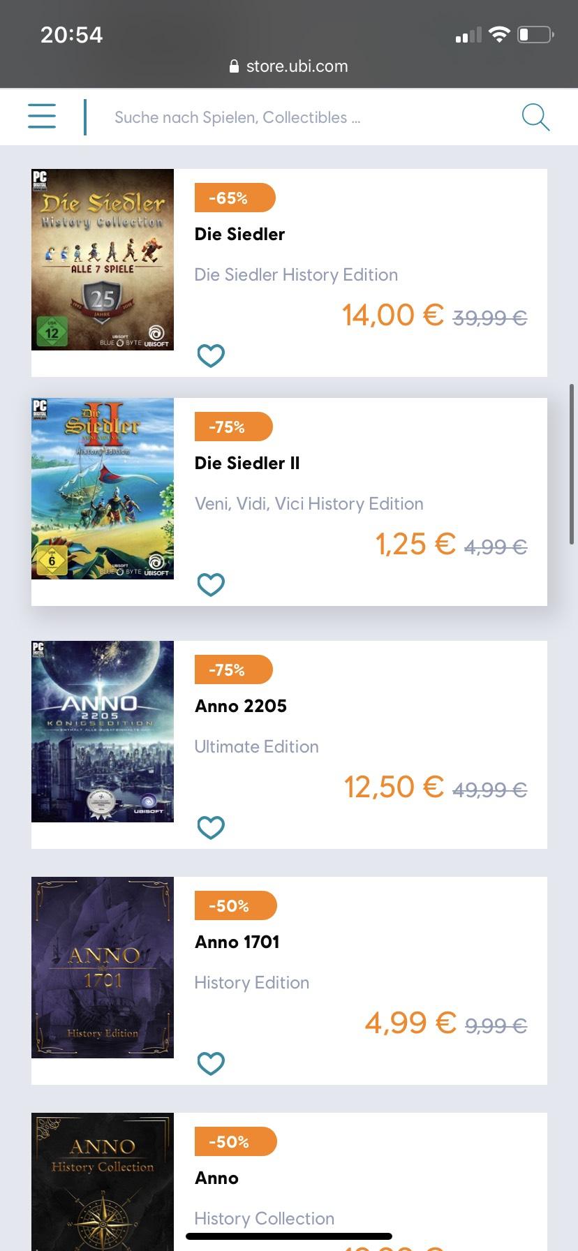 Sammeldeal Ubisoft Store Siedler II 1,25€; Collectors Edition 14€ und diverse Anno Editionen