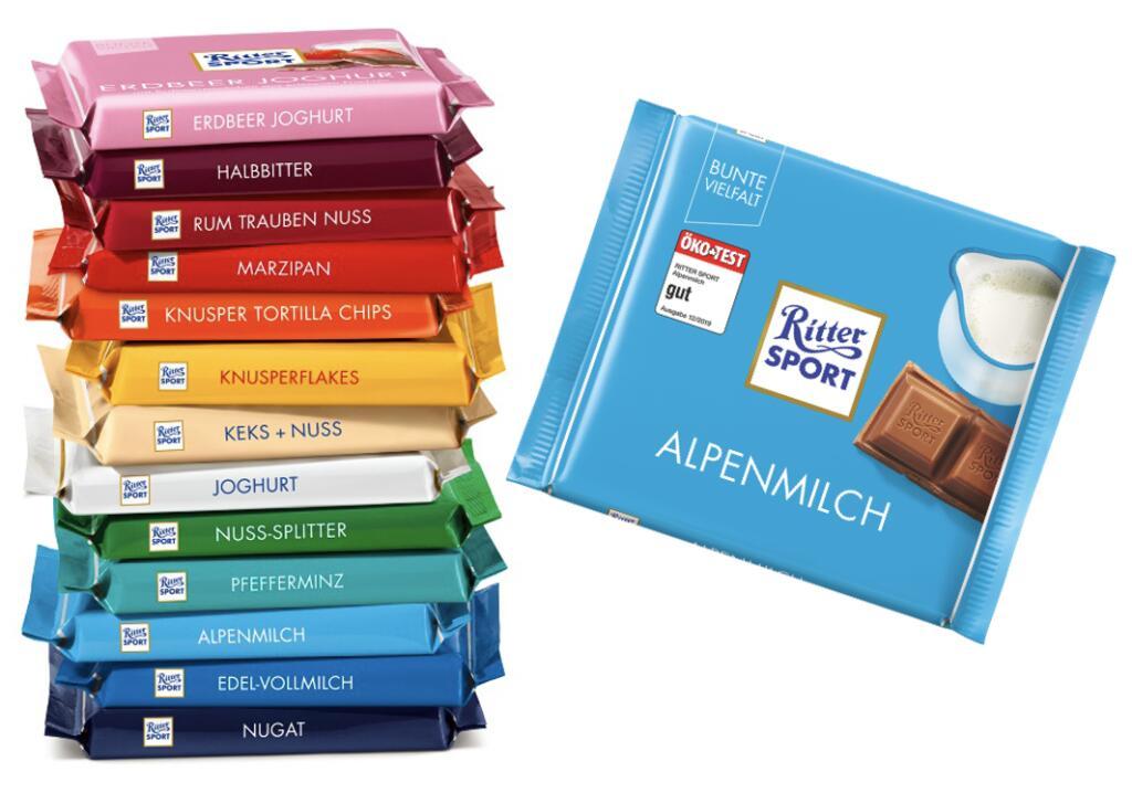 Ritter Sport - Bunte Vielfalt für je 0,58€ (je 0,52€ möglich) [Müller]