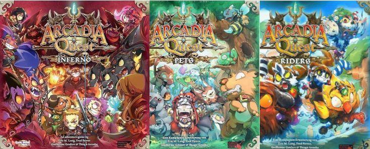 Arcadia Quest Inferno + Erweiterungen Pets + Riders (Brettspiel CMON)