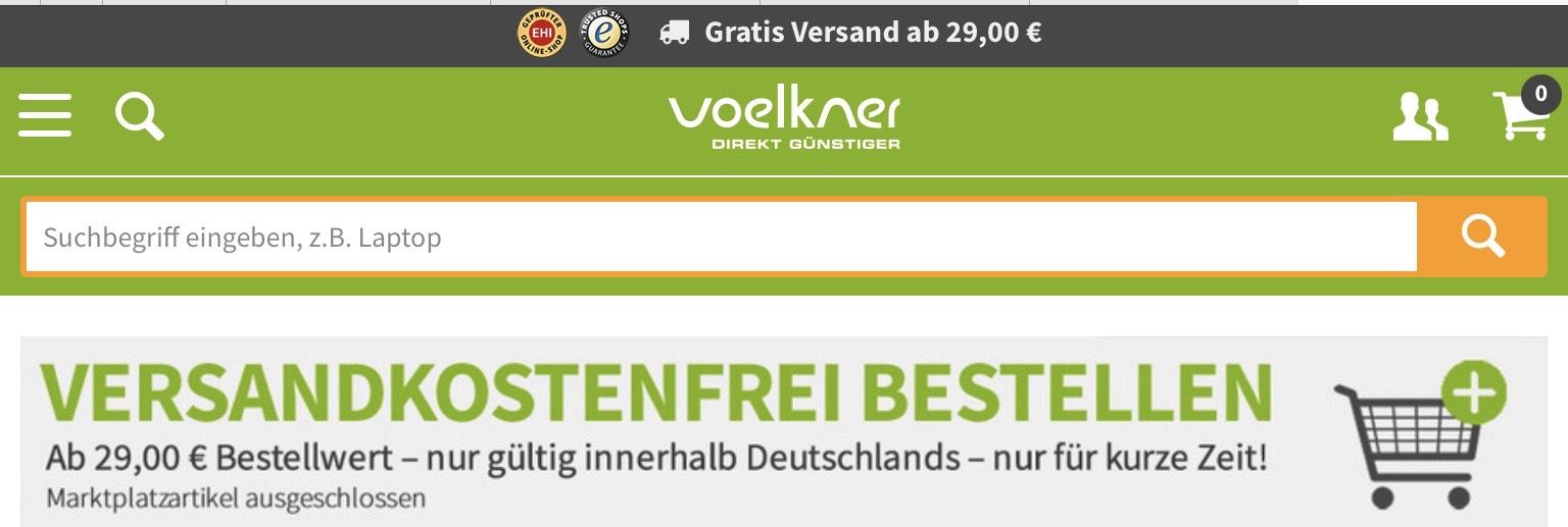Voelkner, kostenloser Versand ab Bestellwert von 29€ (außer Marktplatz)