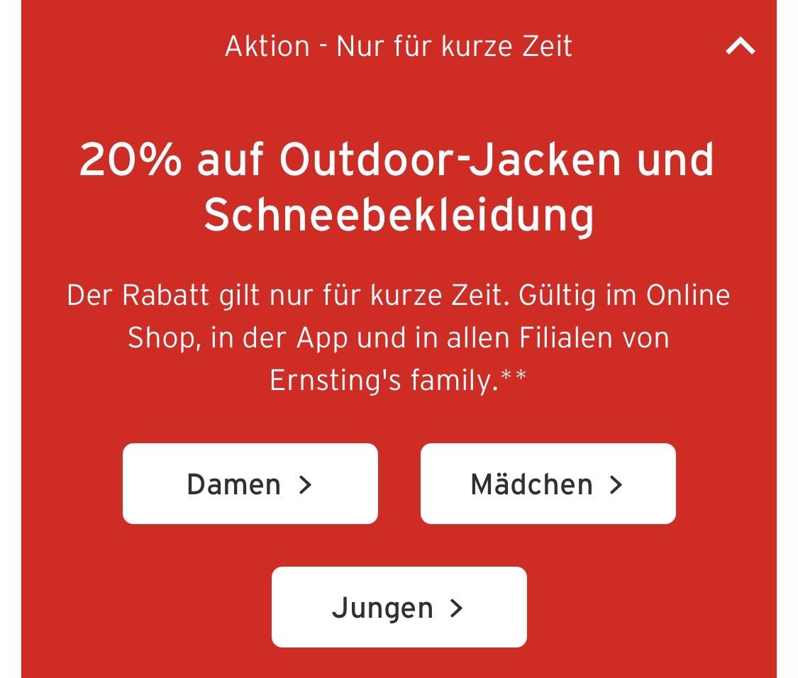 20% auf Outdoor-Jacken und Schneebekleidung bei Ernstings Family