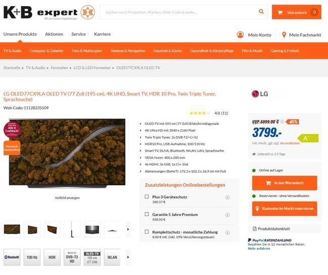 LG OLED TV 77cx9 für 3799€ bei expert K+B in Regen + 400€ Cashback