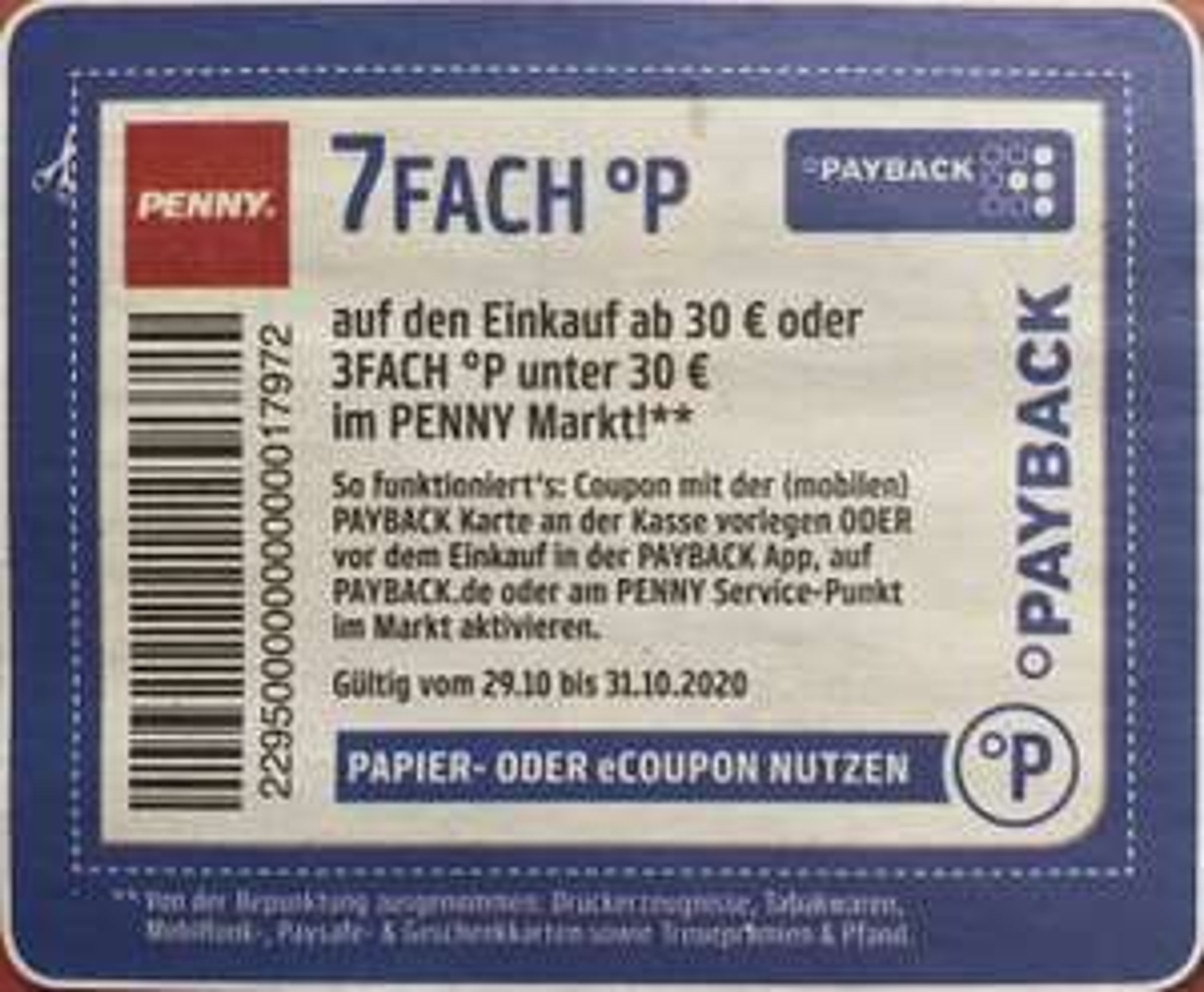 [Penny] bis zu 7fach Payback-Punkte vom 29.-31.10. | 10fach auf Schoki (für gesamte KW44)