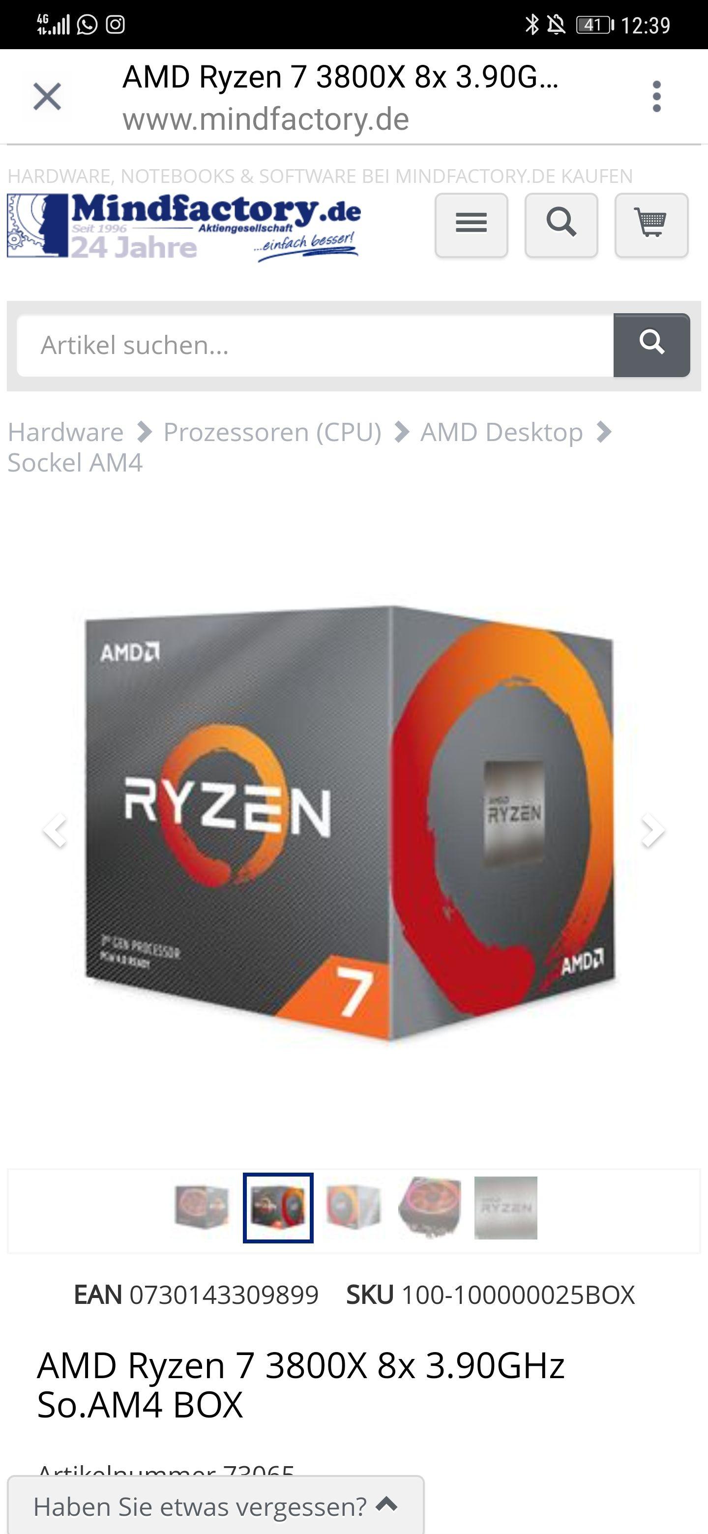 AMD Ryzen 7 3800X 8x 3.90GHz So.AM4 BOX Bei Mindfactory