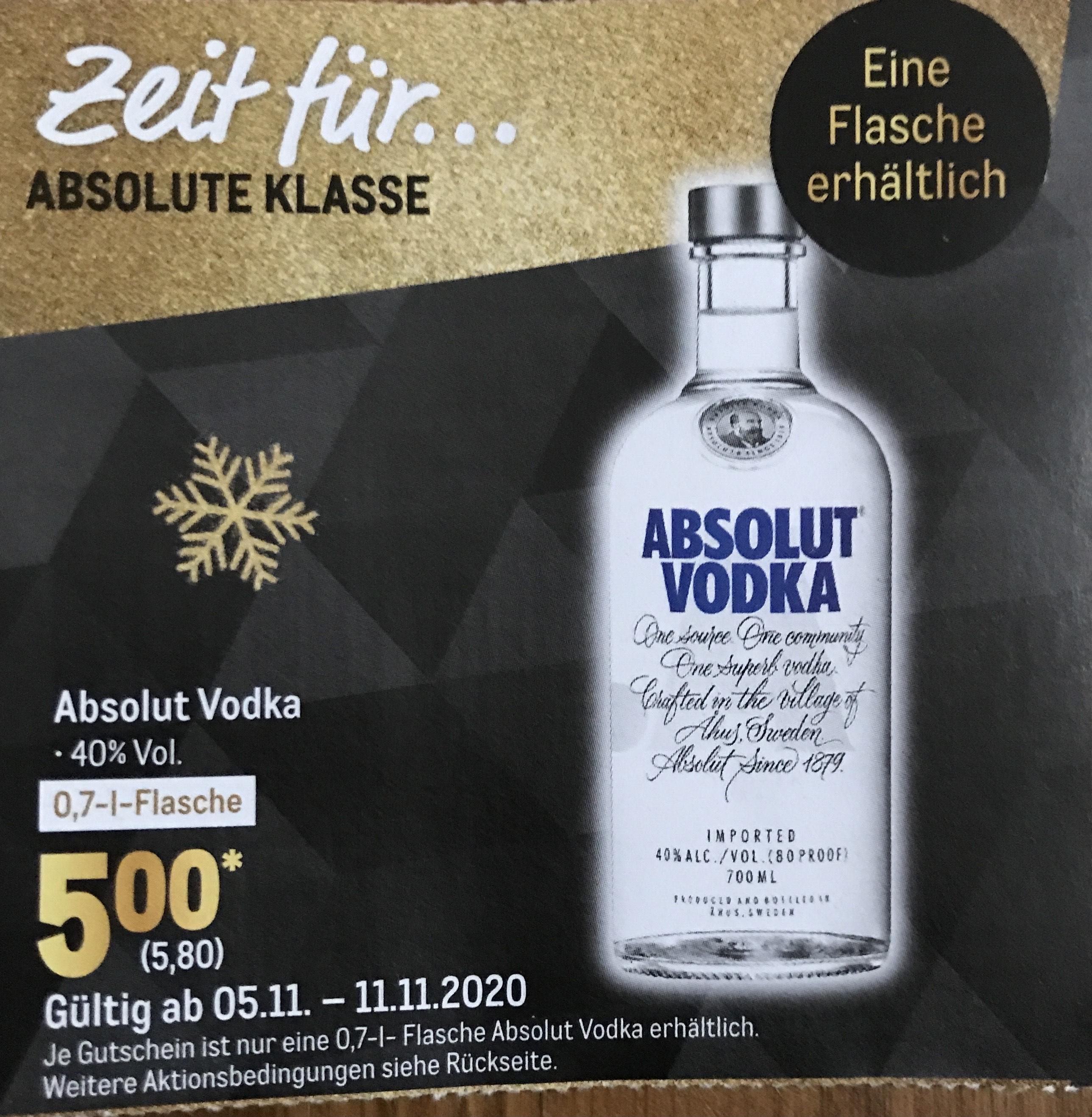 [Metro] Absolut Vodka 0,7l für 5,80€ mit Coupon ab 05.11.2020