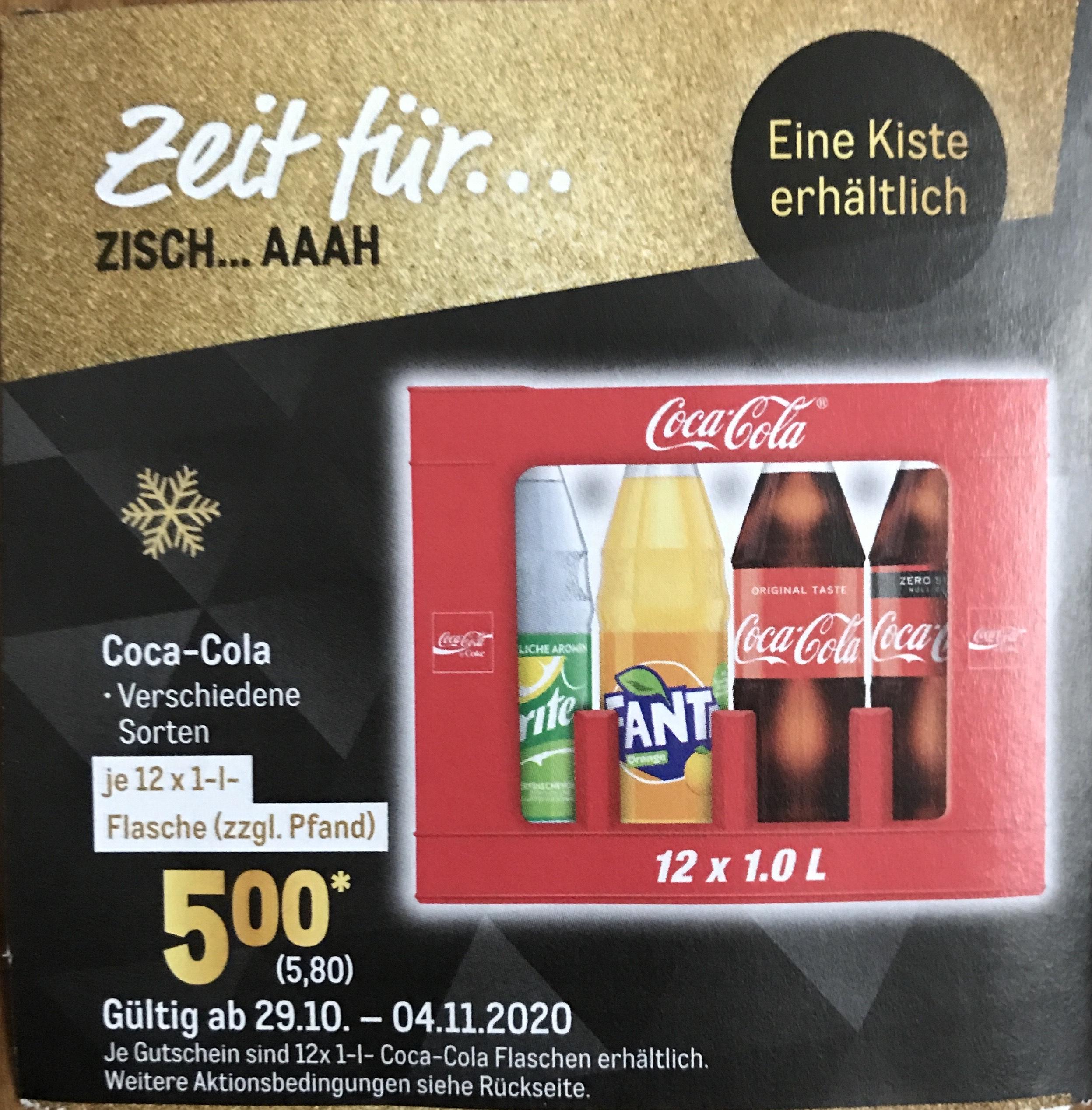 [Metro] Coca-Cola 12x1l mit Coupon für 5,80€ ab 29.10.20 (0,48€ je Liter)
