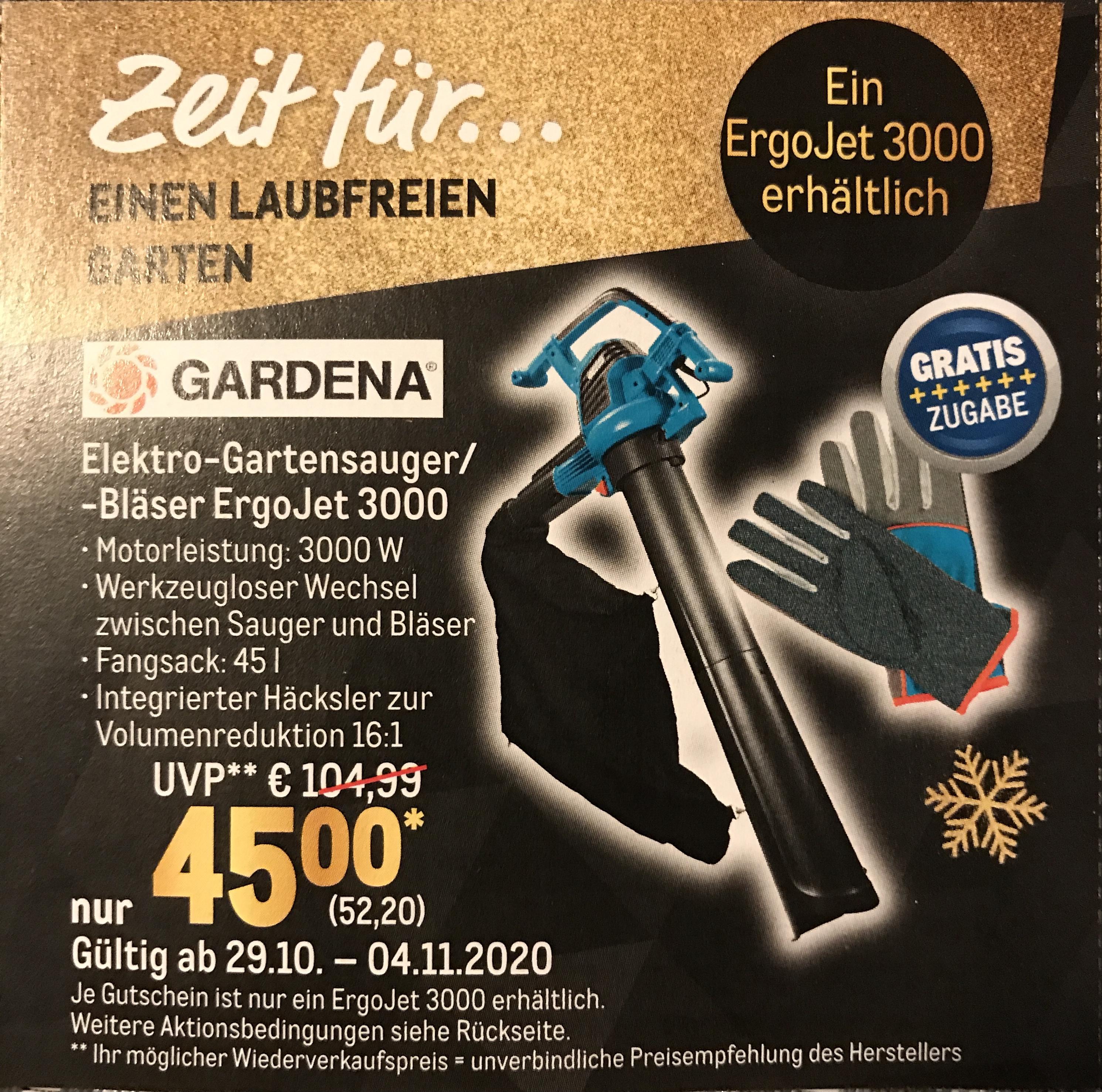 (Metro) Gardena Elekro-Gartensauger/-bläser ErgoJet 3000 inkl gratis Handschuhen