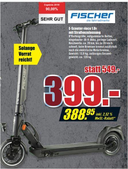 FISCHER E-Scooter ioco 1.0 mit Straßenzulassung für 388,95 Euro [B1-Discount Baumarkt]