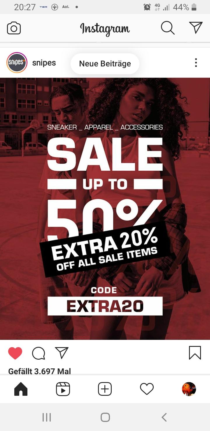 Snipes 20% Extra Sale auf reduzierte Artikel