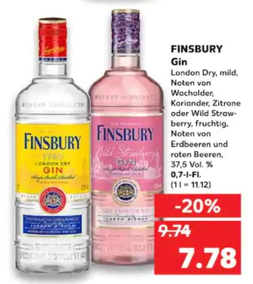 Finsbury Wild Strawberry Gin und London Dry 0,7l [Kaufland]