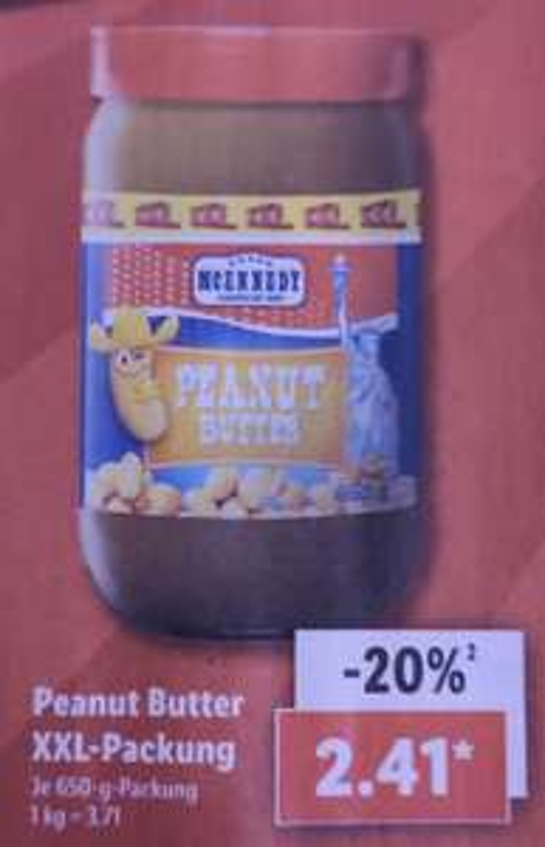 [Lidl] Peanut Butter XXL 650g (3,71€/KG) für 2,41€