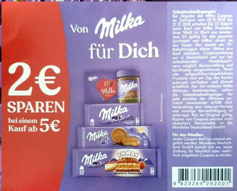 [Milka] 4€ (evtl. 6€/Freebie) Rabatt auf alle Milka Produkte ab 5€ Einkaufswert