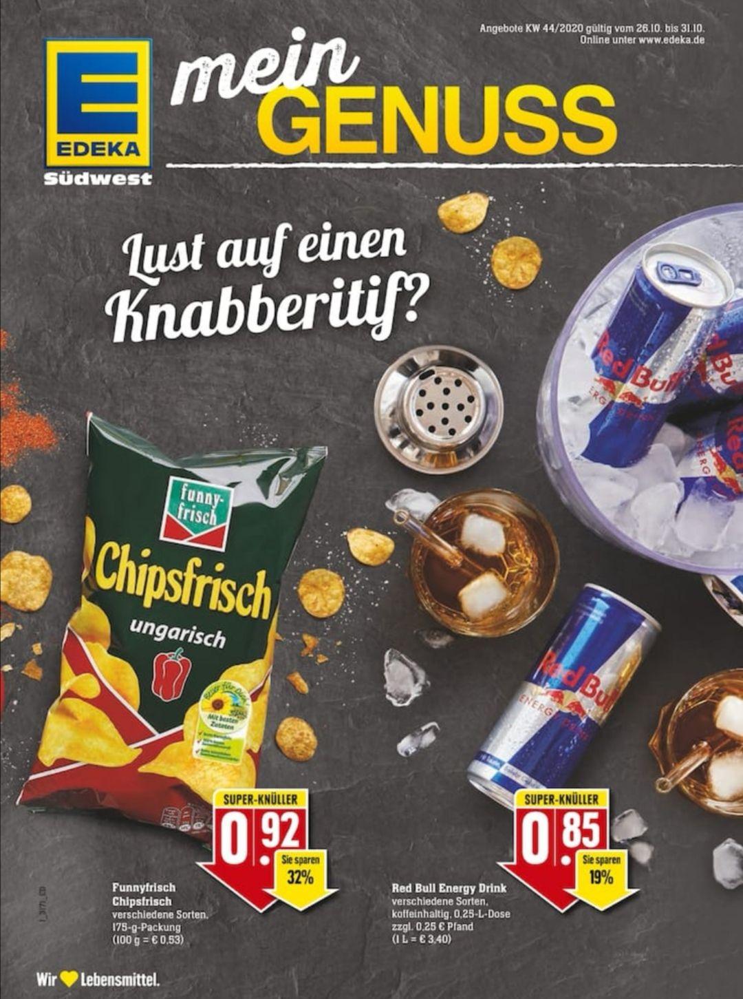 Red Bull Energy Drink 250ml (verschiedene Sorten) + Pfand und FunnyFrisch Chips für EUR 0,92