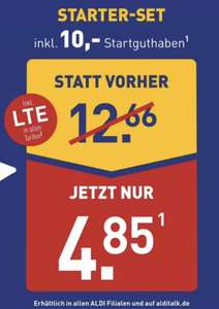 ALDI Talk Starter-Set inkl. 10€ Guthaben ab 29.10. für nur 4,85€