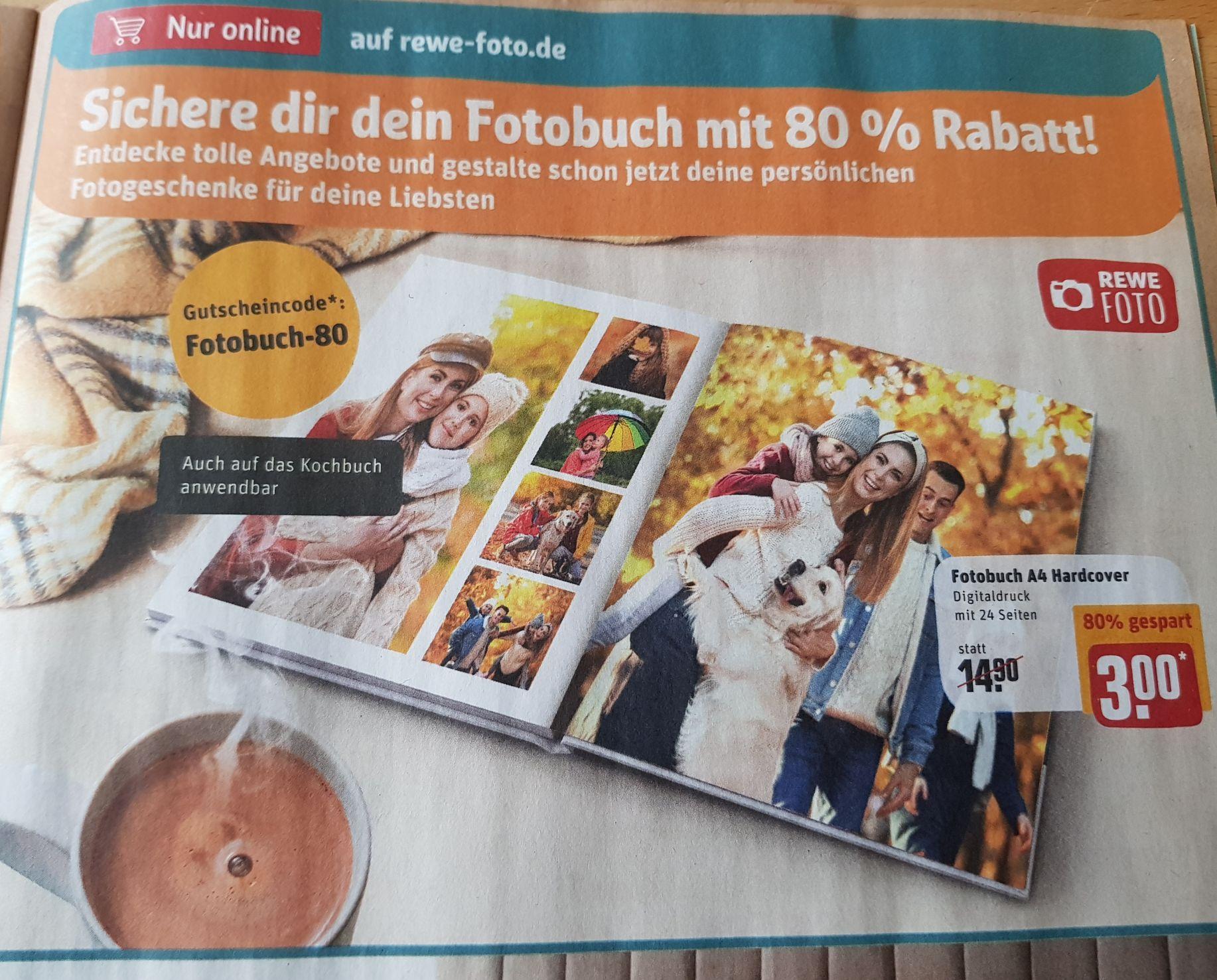 Rewe Fotobuch mit 24 Seiten A4 Hardcover für 3€