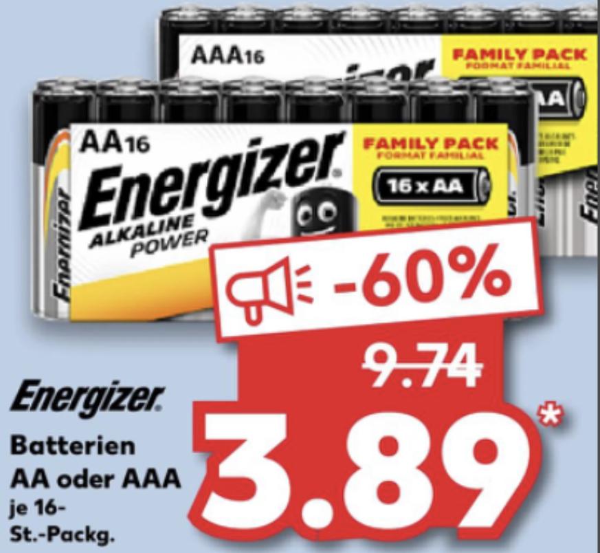 Energizer Alkaline Power Batterien 16 Stück Family Pack Mignon o. Micro für je 3,89€