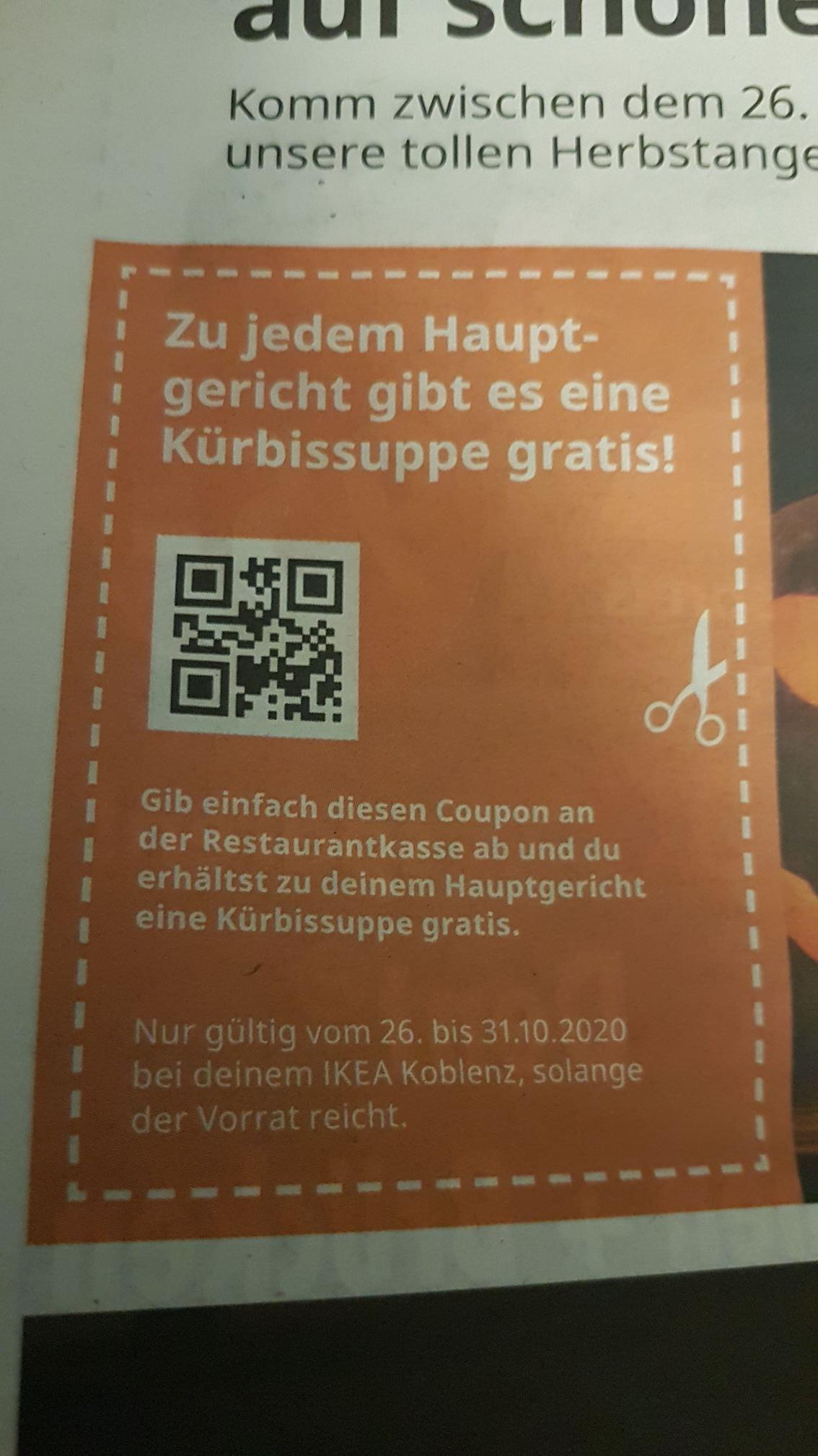 Gratis Kürbissuppe zu jedem Hauptgericht bei IKEA Koblenz