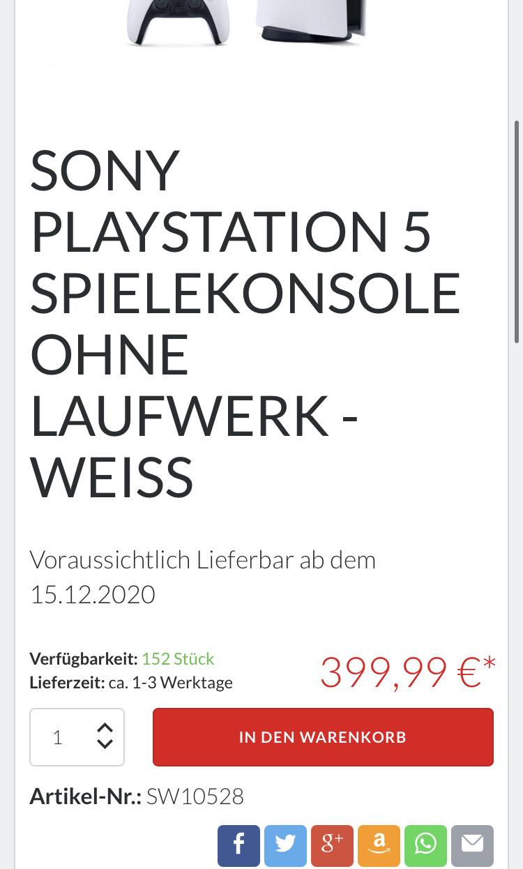 PS5 Digital Version Restock bei King Controller Versand 15.12.2020