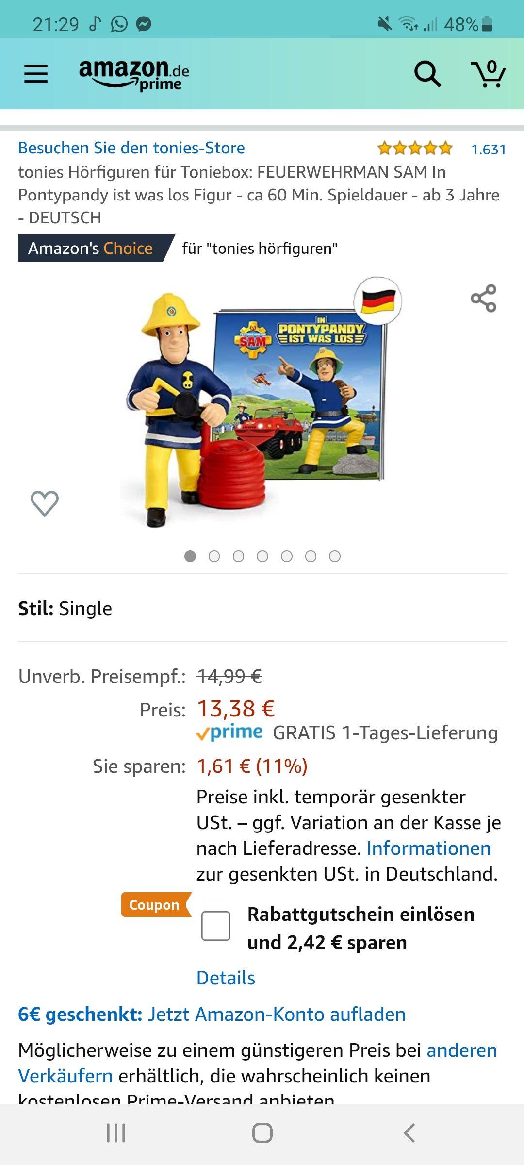 (Amazon prime) Tonie Feuerwehrmann Sam