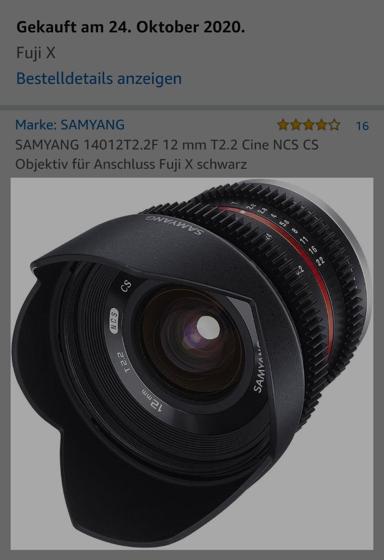 Samyang 12mm f 2.0 für FUJI Videoobjektiv
