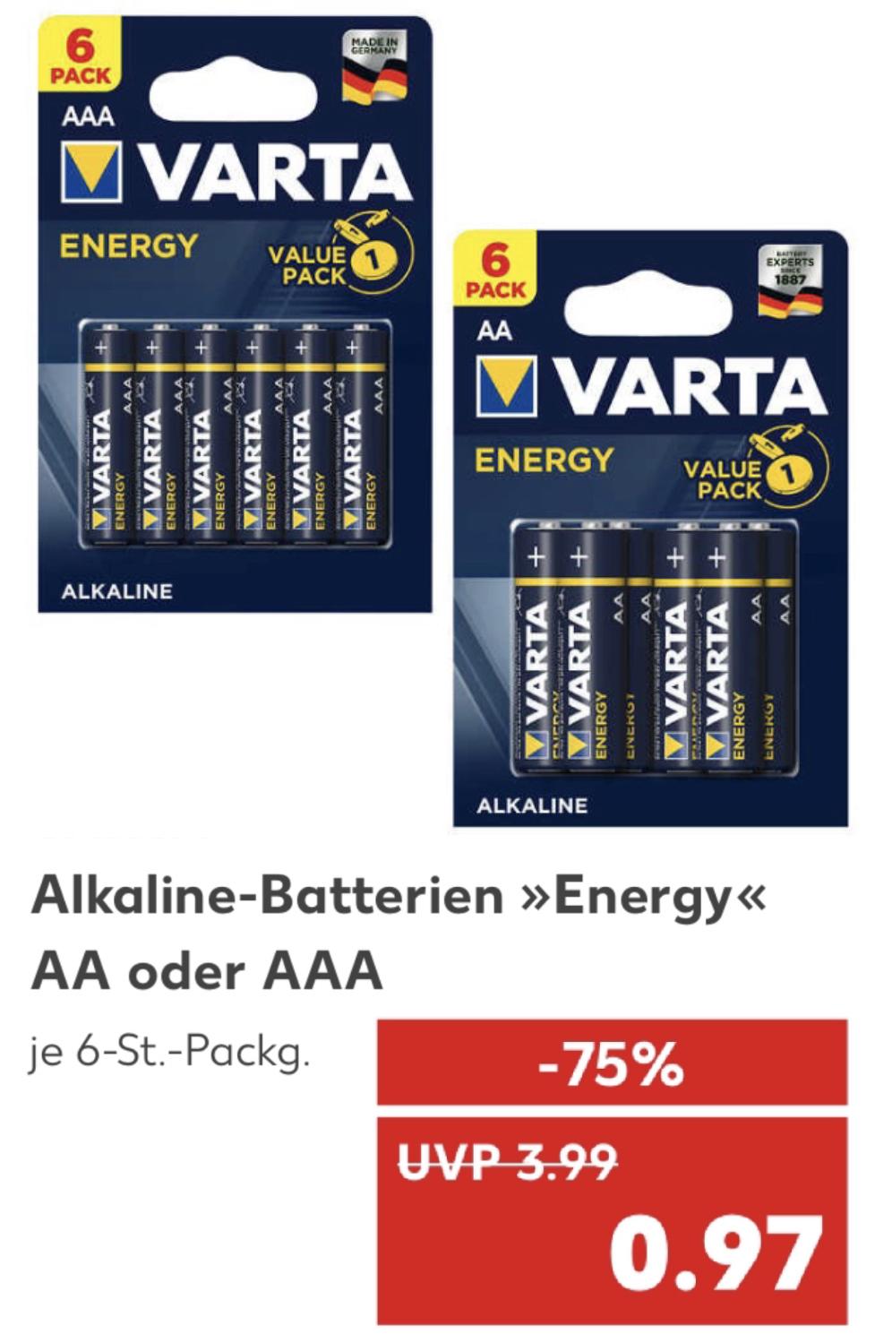 VARTA Energy Alkaline Batterien 6 Stück Packung Mignon AA o. Micro AAA für je 0,97€