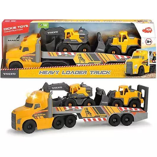 Dickie Toys Mack/Volvo Heavy Loader Truck LKW mit zwei Volvo Baustellen-Fahrzeugen, Netto