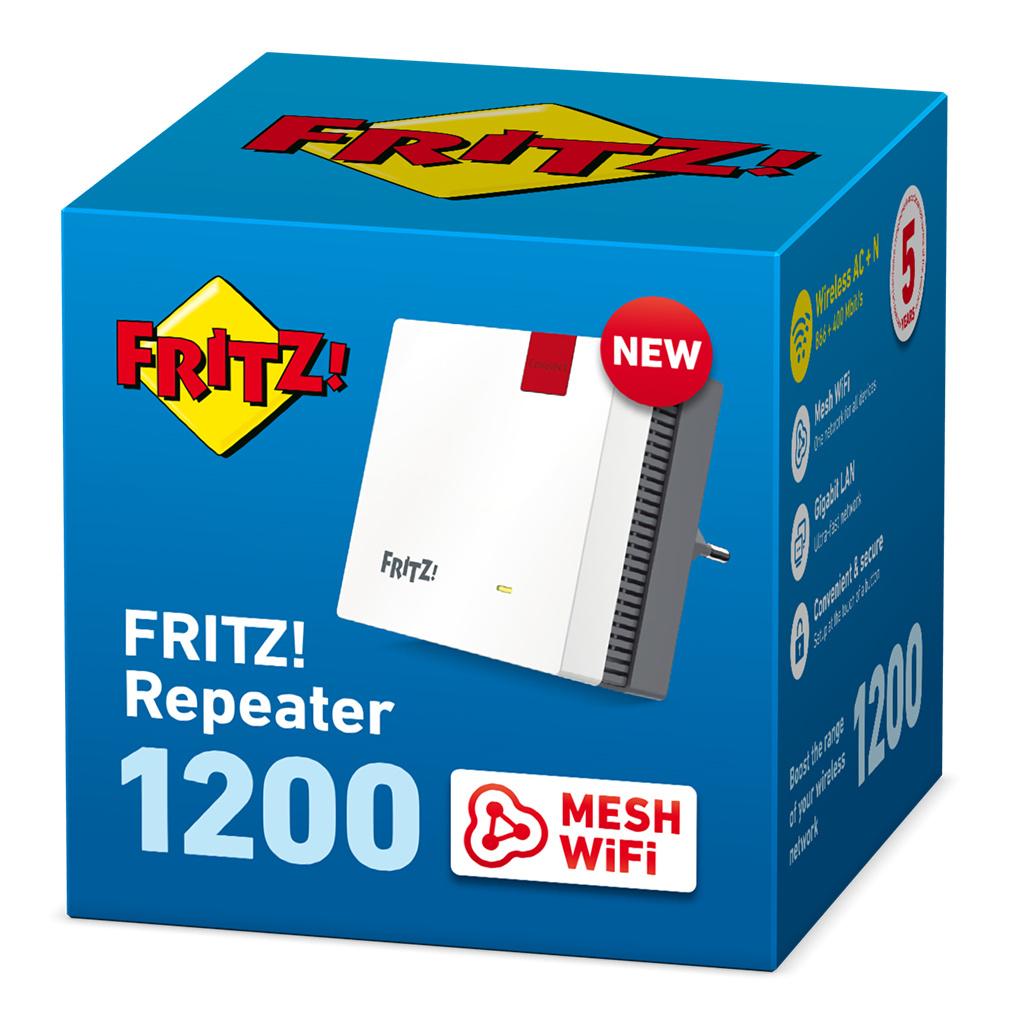 Fritz!Repeater 1200 für ca. 49 Euro (2,4 Ghz, 5Ghz, Mesh, 5 Jahre Garantie)