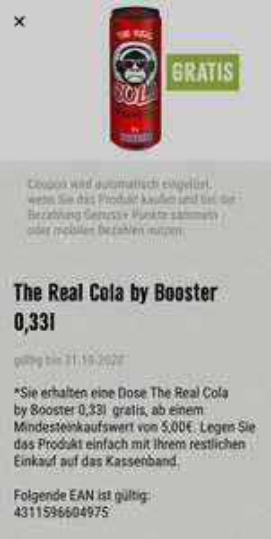 [Edeka Genuss+ App / Lokal / Baden-Württemberg] The Real Cola by Booster (Mindesteinkauf 5,00 EUR)