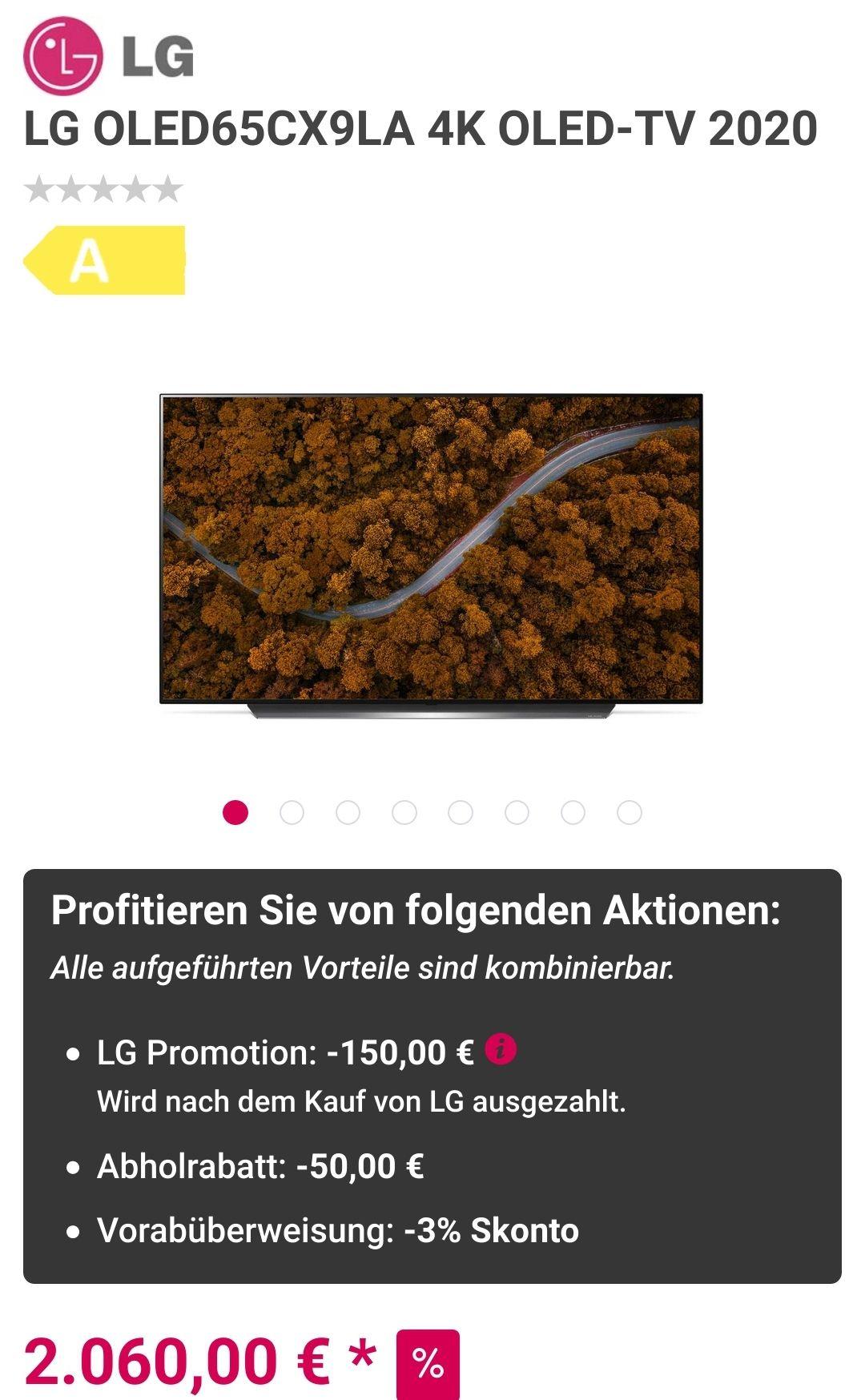 LG OLED65CX9LA 4K OLED-TV 2020 für effektiv 1.848,20 €