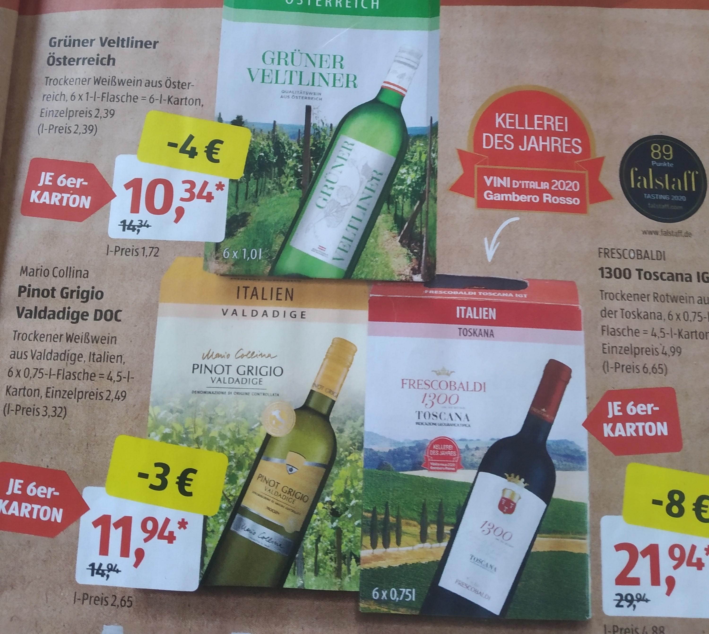 Aldi Süd: Wein (Grüner Veltliner, Pinot Grigio, Frescobaldi) im 6er Karton ab...