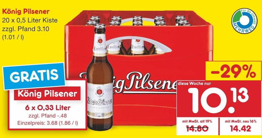 [Netto MD]König Pilsener Bier 20 x 0,5er Kiste + Sixpack 0,33er für 10,13€ + Pfand regional Ruhrgebiet