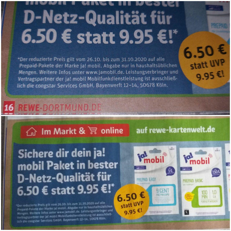 [Online & vor Ort] Ja!mobil Starterpaket für nur 6,50 Euro bei REWE