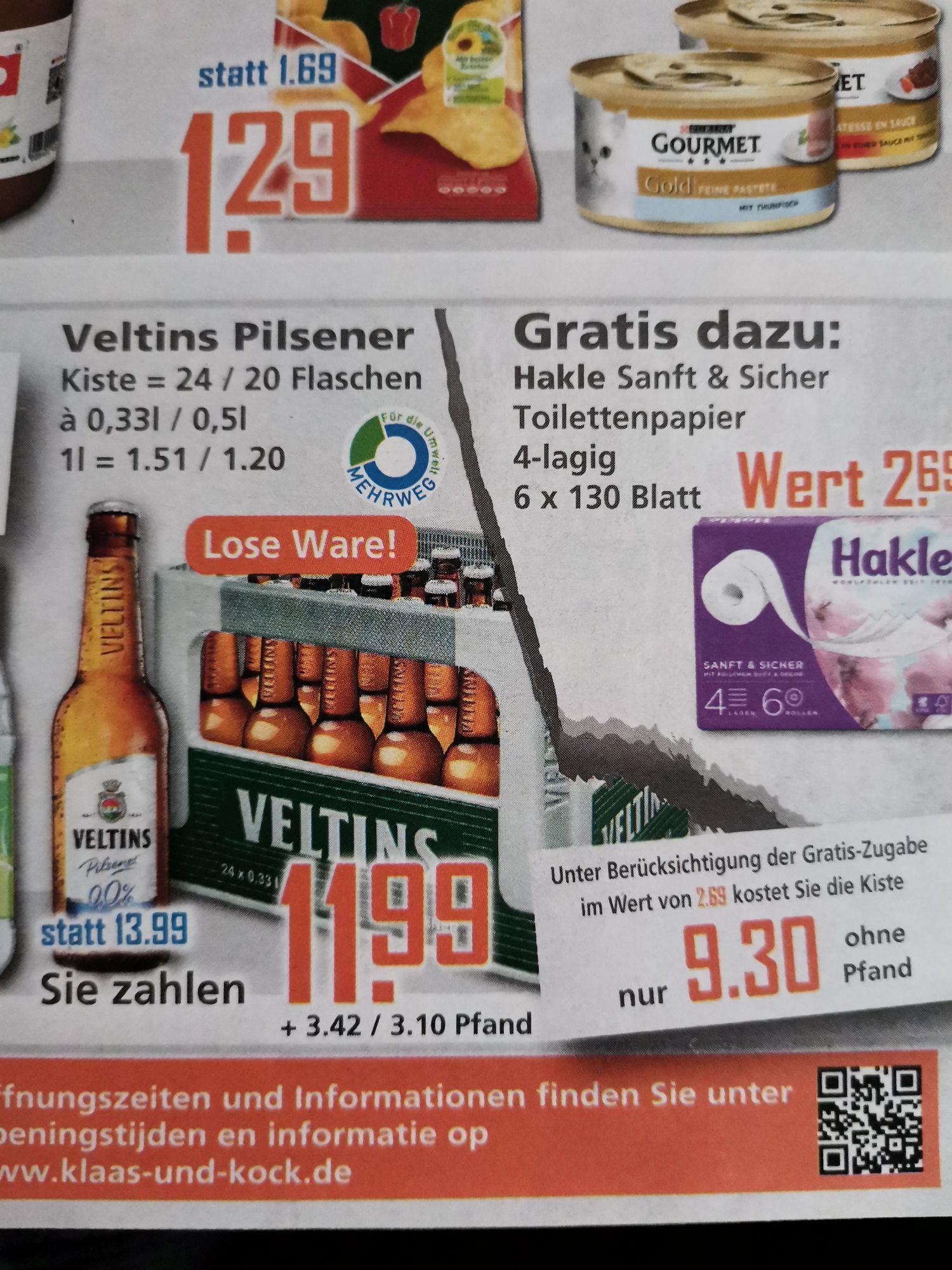 Kiste Veltins Pilsener + gratis Hakle Toilettenpapier 6x130 Blatt bei K+K